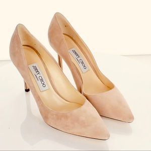 New Jimmy Choo Romy 85 suede nude pumps